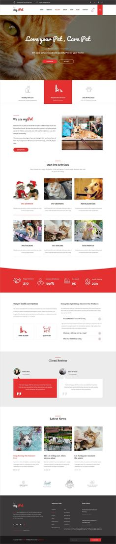 MyPet is clean and modern design PSD template for #pet shop and #veterinary clinics website with 18 layered PSD pages download now..