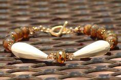 White Jade Swarovski Crystal & Czech Glass Bracelet by MyPrettyChicBoutique, $35.00