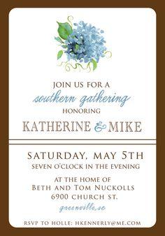 Elegant Wedding Shower Invitation- Southern Engagement Party on Etsy, $15.00