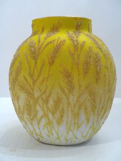 VICTORIAN ERA YELLOW SATIN ART GLASS CORALENE VASE, Wheat Decoration , c.1880's | eBay