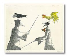 paul flora radierungen Paul Flora, Hahn, Right Brain, Crow, Illustrators, Paper Art, Stencils, Sketches, Birds