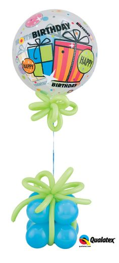 "Who wouldn't want fun #balloons like these on their birthday? A Qualatex Bubble Balloon is tied to a handmade balloon ""gift"" and accented with 160Q balloon ""bows."""