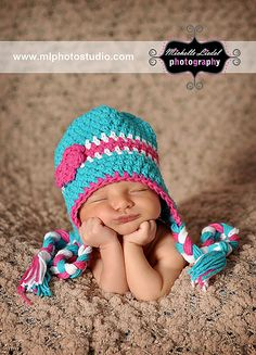 :3 :3 Crochet Newborn Hat, Turquoise Beanie, Baby Photo Prop, Crochet Baby Hat. $25.00, via Etsy.