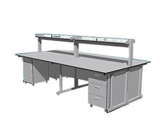 Ở sản phẩm này chúng tôi muốn giới thiệu sản phẩm bàn thí nghiệm Với hai hộc tủ và giá treo tầng hai