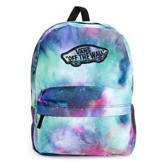 Launch your style while keeping organized with this mid-size backpack made with a colorful galaxy print exterior and Vans logo detailing throughout.