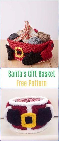 Crochet Santa's Gift Basket Free Pattern - Crochet Santa Clause Free Patterns