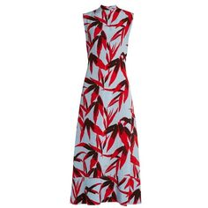 Marni Bamboo-print high-neck sleeveless twill dress ($2,870) ❤ liked on Polyvore featuring dresses, blue multi, marni dress, red dress, red high neck dress, marni and twill dress