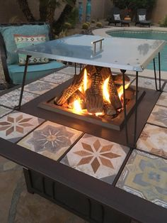 Heat deflector / reflector for gas fire pits. Keeps friends and family warm. Heat is pushed down and out instead of up in the air. No more sweatshirts and blankets. Propane Fire Pit Table, Fire Pit Grill, Fire Table, Diy Fire Pit, Fire Pits, Fire Pit Heat Deflector, Fire Pit Insert, Fire Pit Tools, Fire Pit Spark Screen