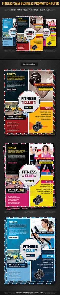 Buy Fitness/Gym Business Promotion Flyer by anshi on GraphicRiver. Specifications: Dimensions: Size with bleeds) Resolution: 300 dpi CMYK / ready for print Editabl. Fitness Flyer, Fitness Brand, Gym Personal Trainer, Psd Flyer Templates, Print Templates, Gym Center, Promotional Flyers, Gym Body, Sports Flyer