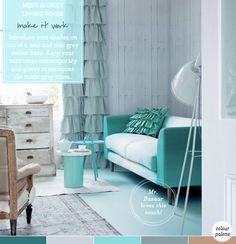Palette Addict: Chic Mint & Grey Living Room - Bright.Bazaar