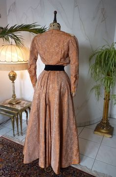 Orange Silk Brocade Reception Gown, ca. 1905