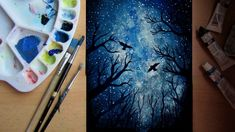 how to paint a night sky - speed painting watercolor night sky, waterc Watercolor Art Diy, Watercolor Art Paintings, Watercolour Tutorials, Gouache Painting, Painting & Drawing, Acrylic Paintings, Watercolor Galaxy, Playstation Plus, Graffiti