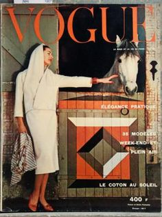 Cover May 1957 of FR based magazine Vogue Paris from Condé Nast Publications including details. Vogue Magazine Covers, Fashion Magazine Cover, Vogue Covers, Vogue Paris, Vintage Vogue, Vintage Fashion, Catherine Deneuve, Collection, Magazines