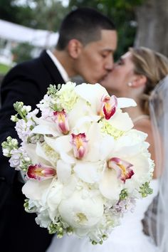 wedding bouquet white peonies orchids  Brittany loves Orchids