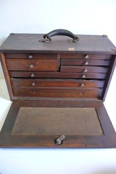 Antique Wood Machinist Tool Chest 8 Drawer by SalvageRelics, $135.00