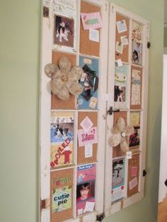 - cork added to window frames to create a spectacular bulletin board -