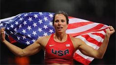 Jennifer Suhr of the USA celebrates after winning the gold medal in the women's Pole Vault final on Day 10 of the London 2012 Olympic Games at the Olympic Stadium