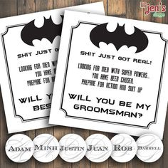Here's a closer look at the design of the batman groomsmen proposals. What I…