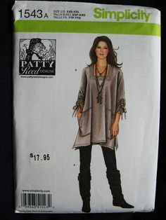 Simplicity Misses Patty Reed Gypsy Boho Hippie Tunic Shirt Top Pattern 1543 UC Uncut FF Size  4 6 8 10 12 14 16 18 20 22 24 26 Plus on Etsy, $13.58 CAD