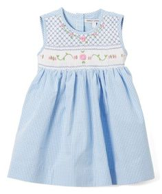 Look what I found on #zulily! Blue Gingham Smocked Jenny Dress - Infant, Toddler