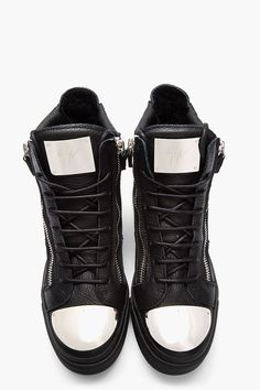 GIUSEPPE ZANOTTI Black Leather Metal-Plated High-Top Sneakers