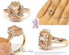 Emerald Cut Morganite Engagement Ring Pave Diamond Wedding 14K Rose Gold,7x9mm - Lord of Gem Rings - 1