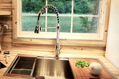 Contemporary Sink with Cutting Board and Rinsing Region  |  TIMBER TRAILS:  Enabling cabin, cottage, and tiny house builders with resources for fast, efficient, and affordable housing alternatives.  Live Large -- Go Tiny!  > >  TimberTrails.TV