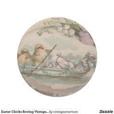 Easter Chicks Rowing Vintage Coaster