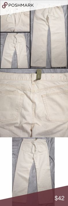 J Crew Vintage Slim Jeans Cream Denim Pants 32x32 J Crew  Vintage Slim Jeans  Cream Colored Denim Pants  New With Tag - Retail $108 Men's size marked: Men's Size 32x32   Approximate measurements laying flat: Waist: 32  Rise:  11 Inseam: 32 Leg Opening: 16.5  Locator# 0715-021 J Crew Jeans Slim Straight