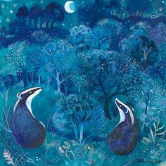 MOONLIT WALK greeting card. Badgers looking at by ChurchMousePress