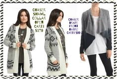 Chaser shawl collar open cardi and their drape front cardi in ombre coloring are both amazing pieces that you don't want to miss out checking out!! Available size XS-L
