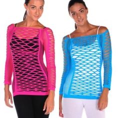 Stretch Mesh Top 3 colors to choose from- Fuschia, Red or Turquoise. One size fits most, up to a comfortable size 10. Tops