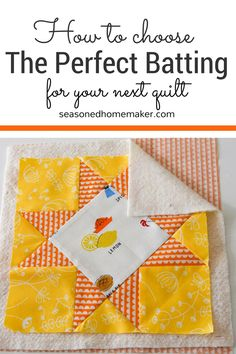 With so many choices, it's difficult to know which batting to choose. Cotton Batting, Cotton/Polyester Blend Batting, Wool Batting, etc. This post will help you choose the right batting for your project. Quilting For Beginners, Quilting Tips, Quilting Tutorials, Quilting Projects, Sewing Projects For Kids, Sewing Crafts, Quilt Patterns Free, Sewing Patterns, Panel Quilts