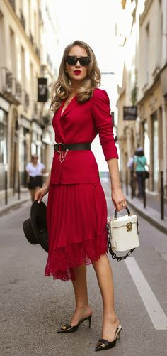 3 Perfect Meeting Spots in Paris + The Parisian Power Suit // Red blazer with coordinating red lace skirt, white bag with black resin handle, black bolero hat, black kitten heels {Chloe, ALC, Mark Cross, Janessa Leone, Classic style}