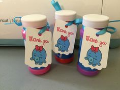 """""""Bubbles"""" the Shopkins Character on a """"Thank You"""" tag attached to a bottle of bubbles for party favors."""