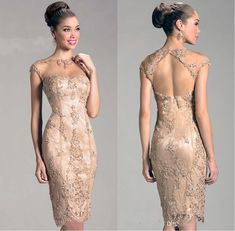 2019 Lace Short Mother Of The Bride Dresses Mermaid Knee Length Zipper Backless Sheer Neck With Capped Sleeves Women Wedding Party Gowns Mother Dresses For Wedding Mother Of Bride Dresses With Jackets Mother Of Groom Dresses, Bride Groom Dress, Bride Gowns, Mothers Dresses, Mother Of The Bride Dresses Knee Length, Bride Suit, Party Gowns, Wedding Party Dresses, Prom Party