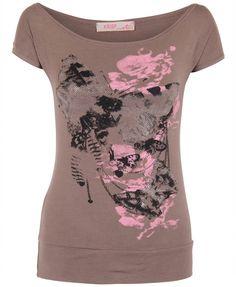 KRISP Damen T Shirt Schulterfreies Oberteil Top Print Kurzarm Blumendruck…