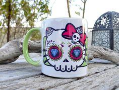 Hello Kitty Sugar Skull  Mug by ObjectIndustrialArt on Etsy, $9.99