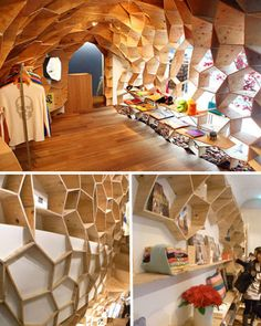 Honeycomb like storage spaces // abstract // natural // effective & optimal use of space.