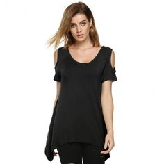 Fashion Women Lady Sexy Casual O-Neck Short Sleeve Off Shoulder Loose Solid Irregular T-Shirt