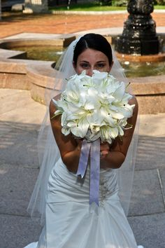 White oriental lilies in a bridal bouquet. My bouquet ? Lily Bouquet Wedding, Lily Wedding, Bridal Bouquets, Weeding Dresses, Flower Girl Dresses, Oriental Lily, Flower Ideas, Here Comes The Bride, Lilies