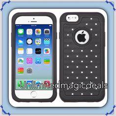"""For Apple iPhone 6 (4.7"""") Stud Diamond Hybrid Rubber Skin Hard Bling Case Black #UnbrandedGeneric"""