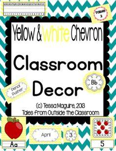 Classroom Decor- Yellow and White Chevron