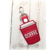 Coffee To Go Key Fob Embroidery Design With Snap Tab