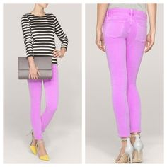 """J. Crew garment dyed toothpick jeans Our designers took a bright idea and ran with it. The talk-of-the-town toothpick gets a jolt of color thanks to a careful garment dye that creates a pitch-perfect hue.  Size is 29 tall  Sits lower on hips Slim through hip and thigh, with a skinny, cropped leg Cotton/viscose with a hint of stretch 28"""" inseam Traditional 5-pocket styling Machine wash The nature of this product may result in color transfer—we suggest laundering at home in your machine before…"""
