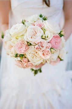 42 Soft Pink Wedding Bouquets To Fall In Love With ♥ These soft pink wedding bouquets could give you so much inspiration! Gentle and feminine colors with perfect accents. So cute and beautiful. #wedding #bride #weddingbouquet Pink And White Weddings, White Roses Wedding, White Wedding Bouquets, Wedding Flower Arrangements, Bride Bouquets, Flower Bouquet Wedding, Rose Wedding, Floral Wedding, Wedding Day
