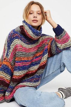 Oversized Sweaters, Turtleneck Sweaters + More - Crazy Stripe Mock Neck The Effective Pictures We Offer You About teenager outfits A quality pictur - Knitwear Fashion, Knit Fashion, Knitting Stitches, Hand Knitting, Crochet Clothes, Pulls, Knit Crochet, Crochet Vests, Crochet Sweaters