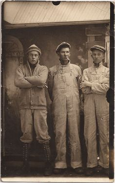 This picture represents the mens work wear of the 1920s. They wore long pants and overalls and long sleeve shirts. This picture stood out to me because of how tough these men look. They are very intimidating looking and don't look like someone you would want to mess with. These men worked hard, long hours and were very good at their jobs.