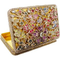 Magnificent Jeweled Italian 800 Silver Hinged Box
