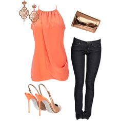 Coral Tunic and Skinny Jeans :)